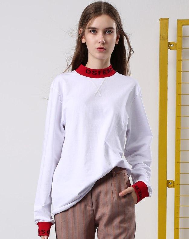 화이트 알파벳 긴소매 표준 여성 티셔츠