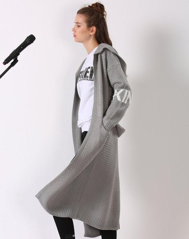 그레이 긴소매 표준 여성 스웨터