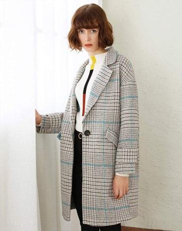 Blue Lapel Single Breasted Long Sleeve Standard Women's Coat