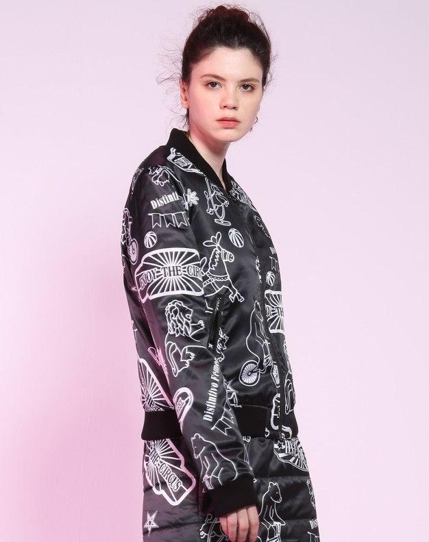 블랙 플라워 프린트 긴소매 표준 여성 스웨터