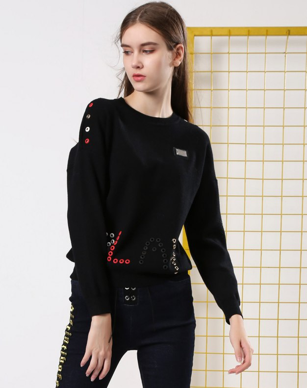 블랙 긴소매 표준 여성 스웨터
