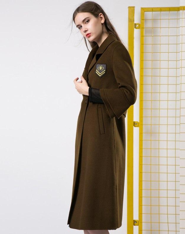 그린 단색의 긴소매 표준 여성 코트