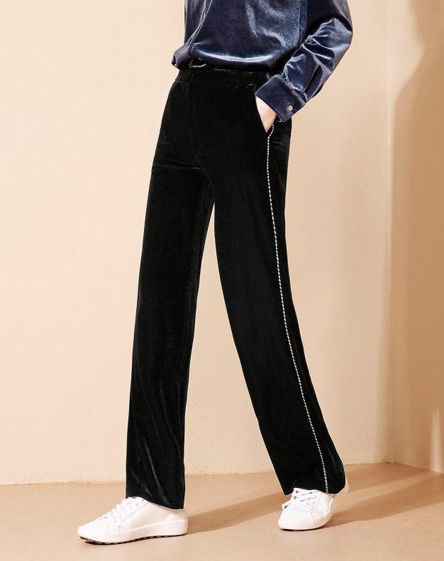 Black Sewing Long Women's Pants