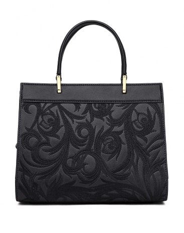 Black Abstract Motifs Cowhide Leather Tote Bag Small Women's Totes