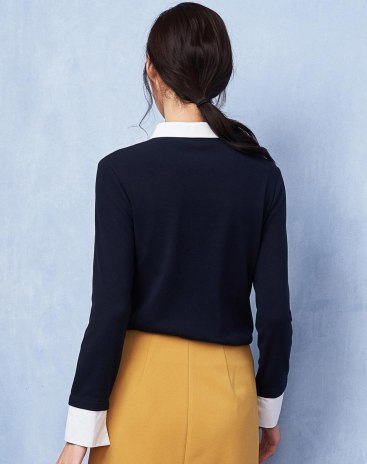 Blue Embroidery Square Neck Long Sleeve Women's Shirt