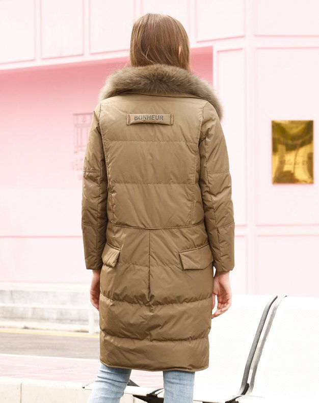 Lapel Single Breasted Fitted Warm Women's Down Jacket