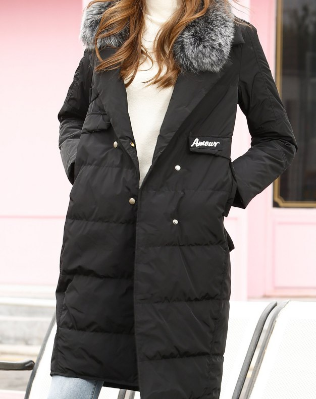 Black Lapel Single Breasted Fitted Warm Women's Down Jacket