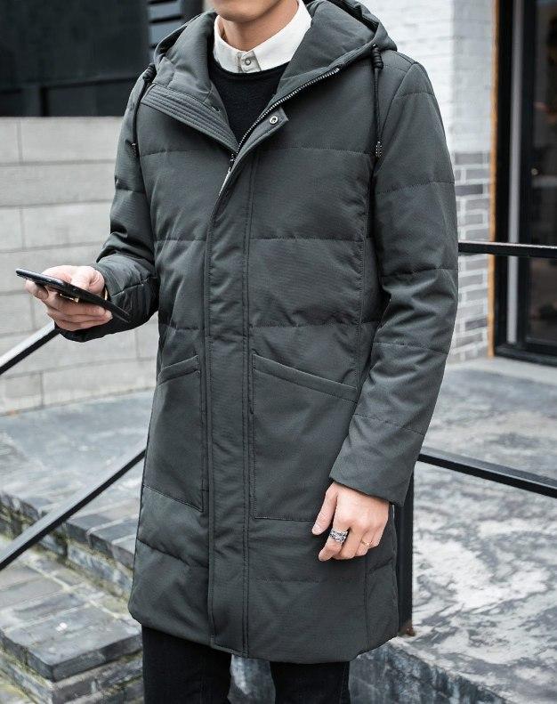 Green Hidden Hood Long Sleeve Standard Men's Down Coat
