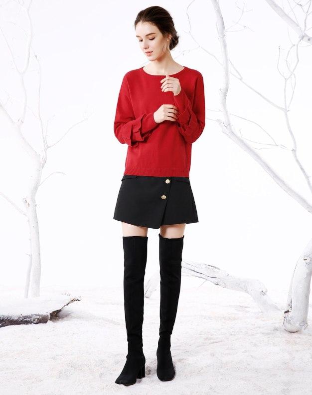 Red Plain Round Neck Long Sleeve Loose Women's Knitwear