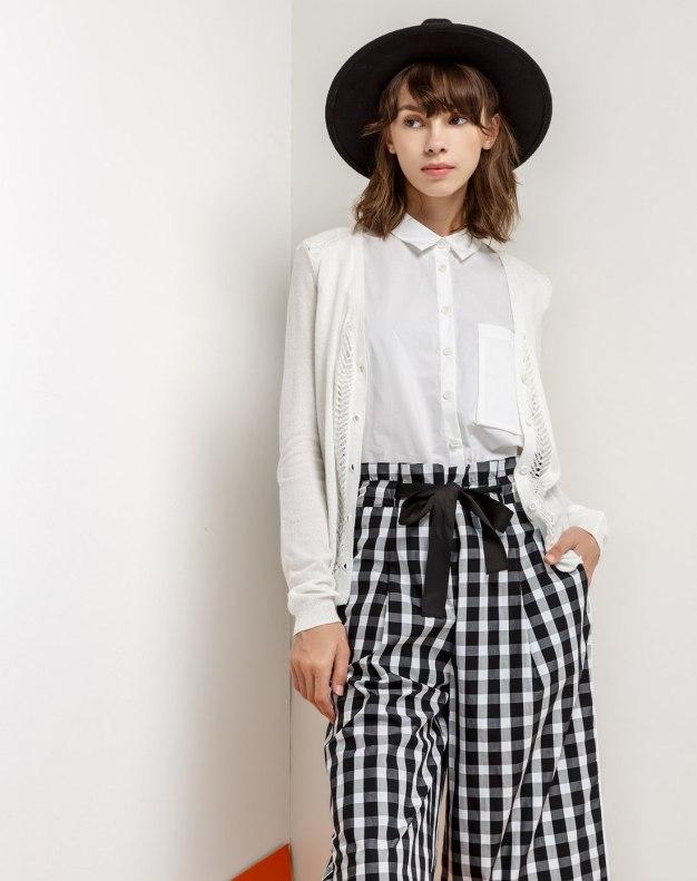 White Single Breasted Long Sleeve Women's Knitwear