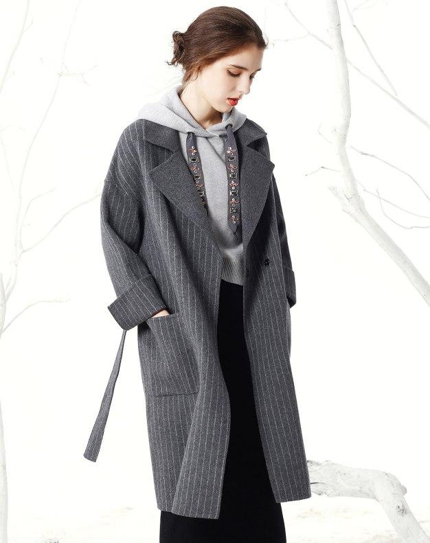 Gray Stripes Lapel Drawstring Type Long Sleeve Women's Coat