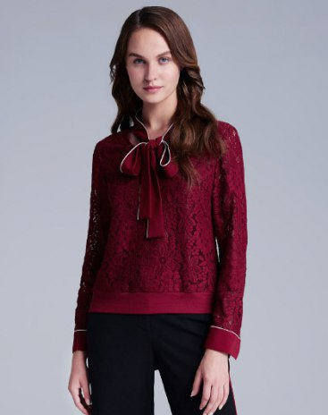 Red Plain Strappy Neck Long Sleeve Standard Women's T-Shirt