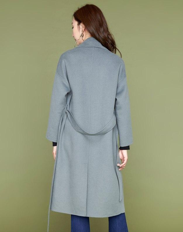 Plain Square Neck Drawstring Type Long Sleeve Women's Coat