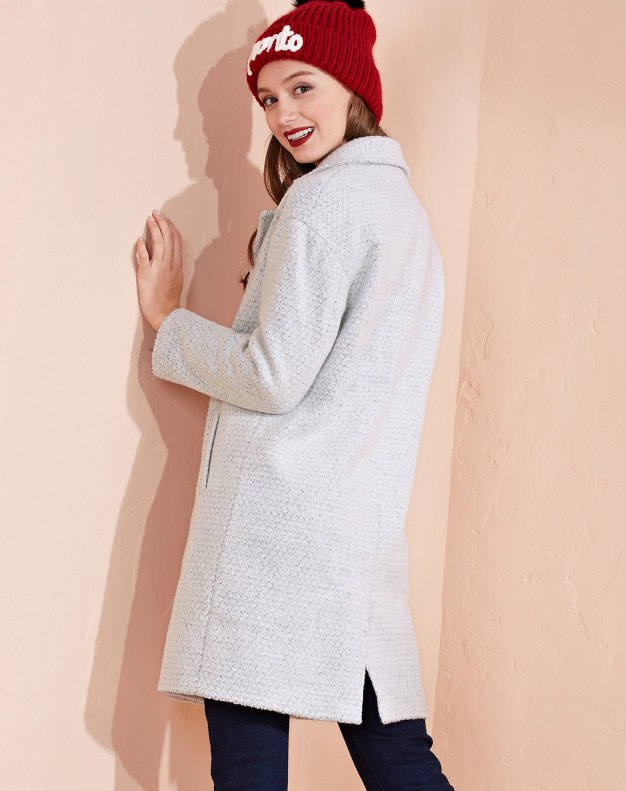 Gray Plain Lapel Single Breasted Long Sleeve Fitted Women's Coat
