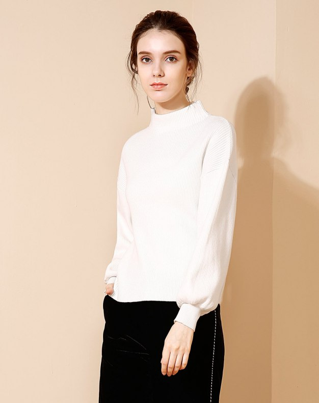 White Long Sleeve Loose Women's Sweater