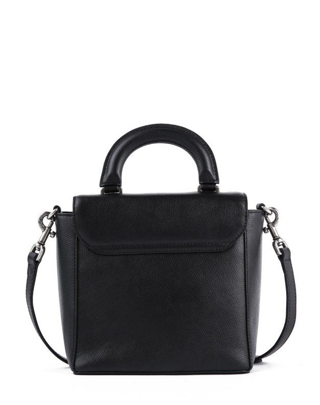 Black Cowhide Leather Mini Women's Shoulder Bag