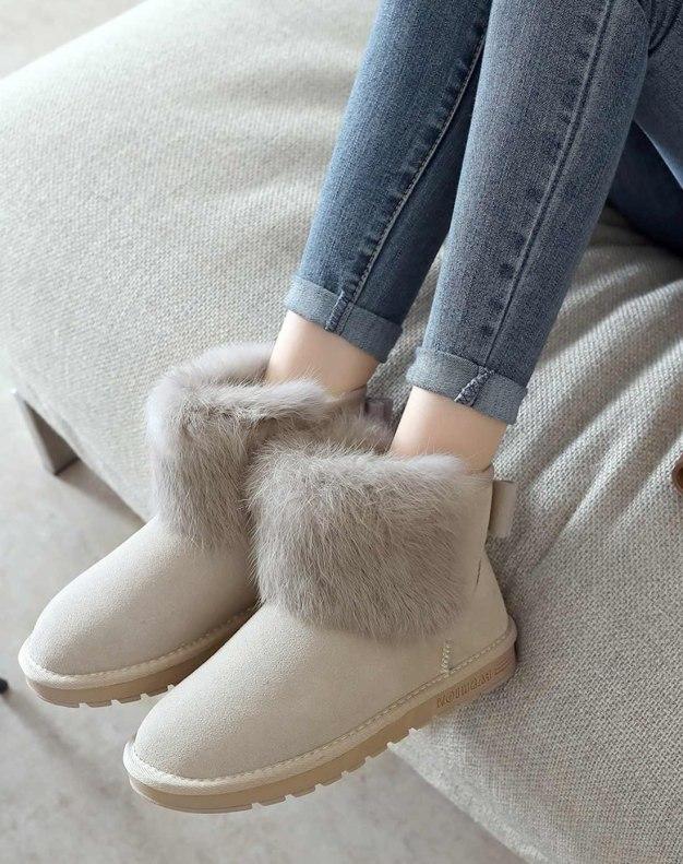 Round Head Flat Anti Skidding Women's Boots