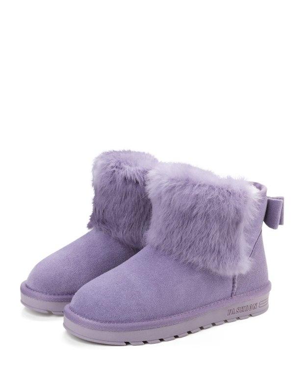 Purple Round Head Flat Anti Skidding Women's Boots