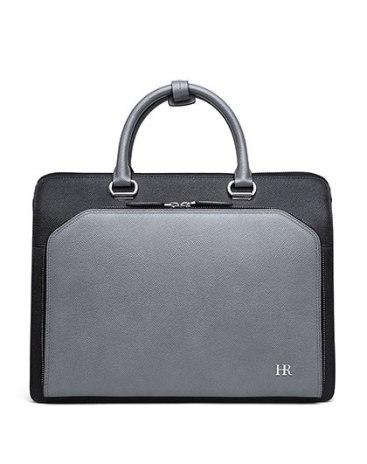 Gray Plain Cowhide Leather Big Men's Business Case