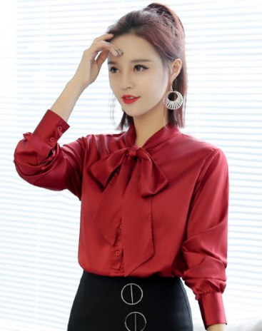Red Plain Strappy Neck Long Sleeve Fitted Women's Shirt