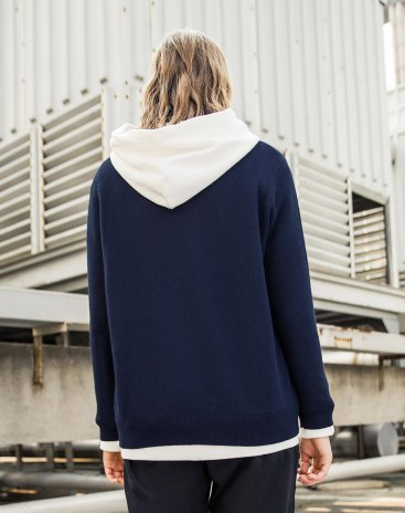 Blue V Neck Long Sleeve Loose Women's Sweater