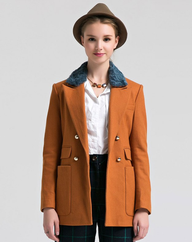Lapel Double Breasted Women's Coat