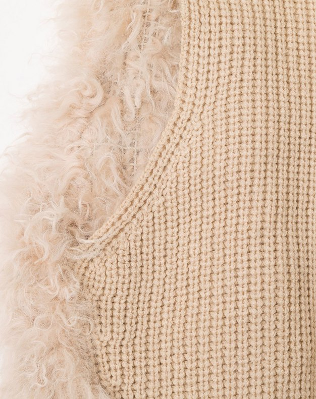White Collarless Women's Fur & Leather Clothing