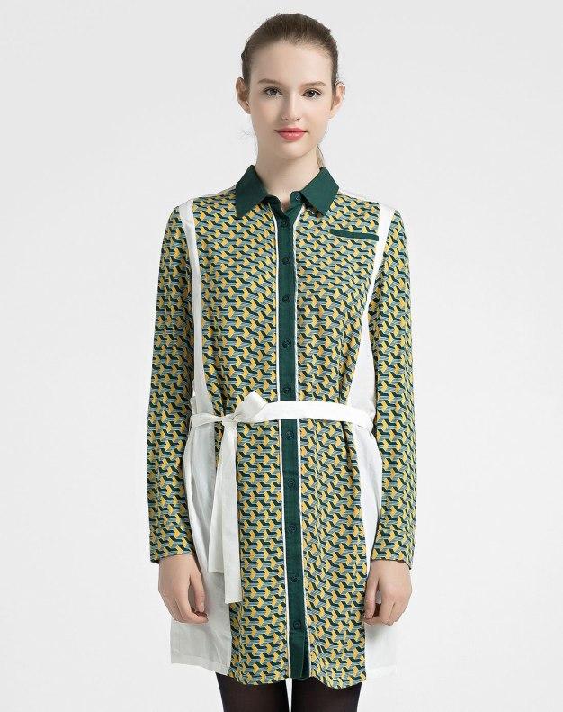Colourful Shirt Collar Drawstring Type Women's Shirt