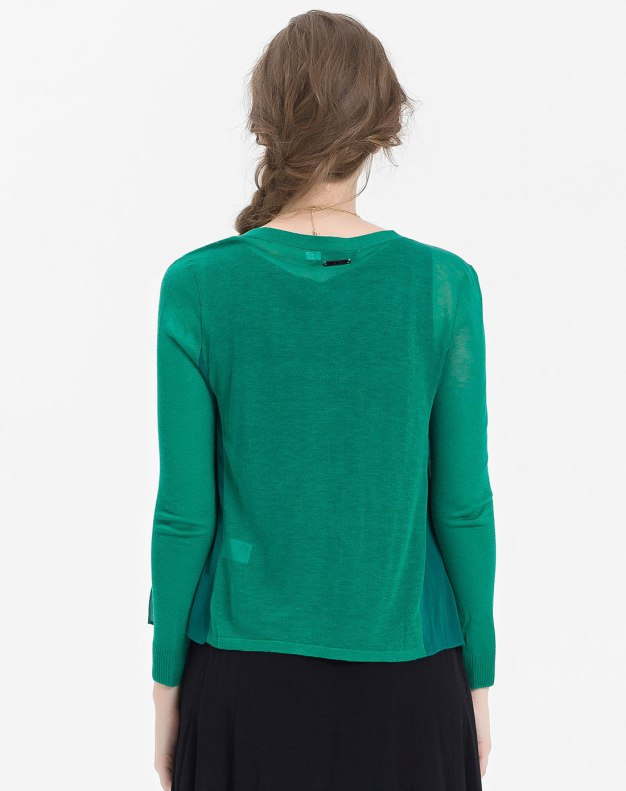 Green V Neck Single Breasted Cropped Sleeve Women's Knitwear