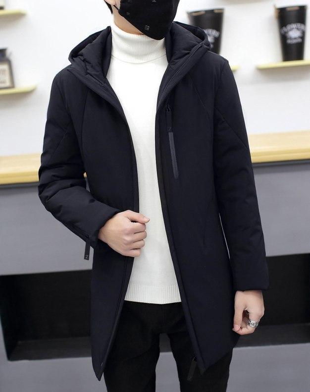 Hidden Hood Long Sleeve Fitted Men's Down Coat