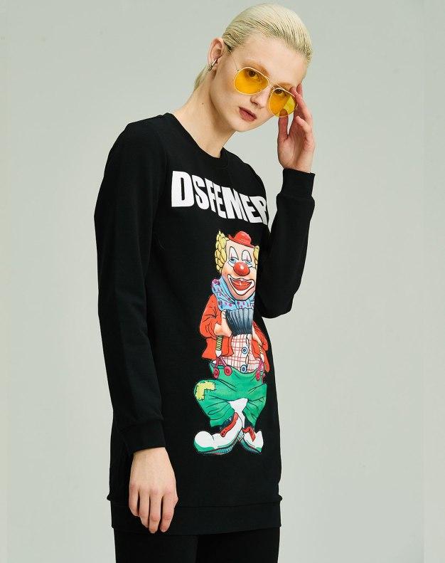 블랙 만화 긴소매 표준 여성 티셔츠