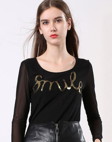 Black Round Neck Long Sleeve Fitted Women's T-Shirt