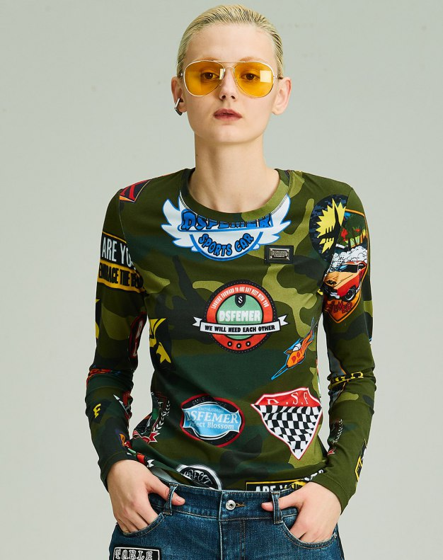 그린 긴소매 슬림핏 여성 티셔츠