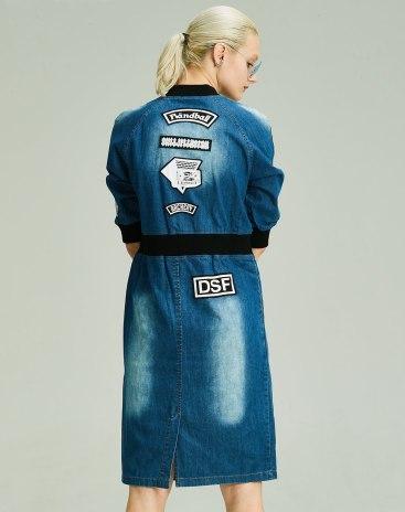 Blue Long Sleeve Bodycon Women's Dress