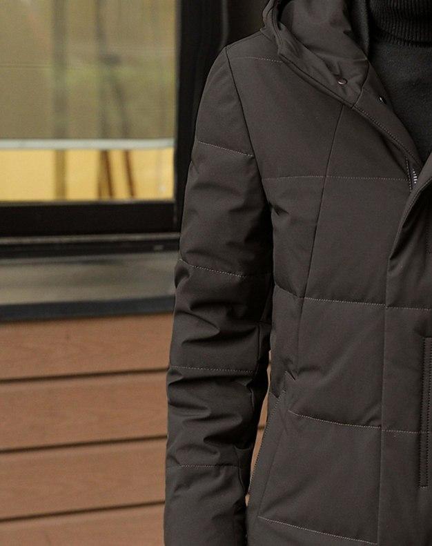 Brown Hidden Hood Long Sleeve Standard Men's Down Coat