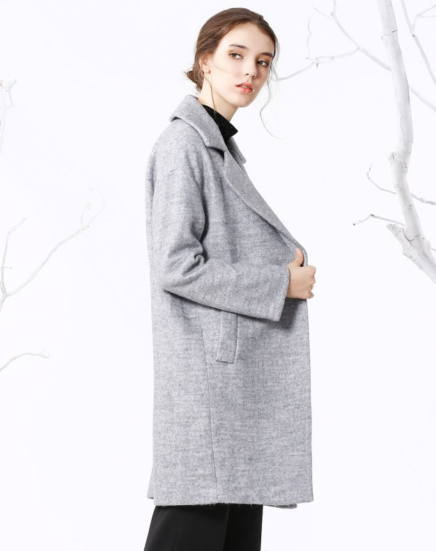 Lapel One Botton Long Sleeve Fitted Women's Coat