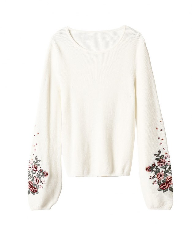 White Embroidery Round Neck Elastic Women's Knitwear