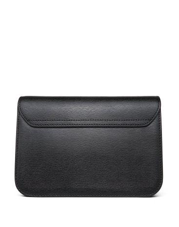 Black Plain Cowhide Leather Saddle Bag Mini Women's Shoulder Bag