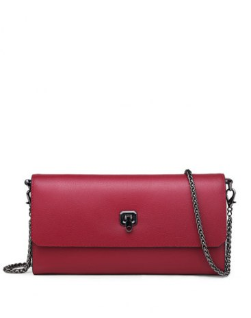 Red Plain Cowhide Leather Purse(Long) Small Women's Wallet