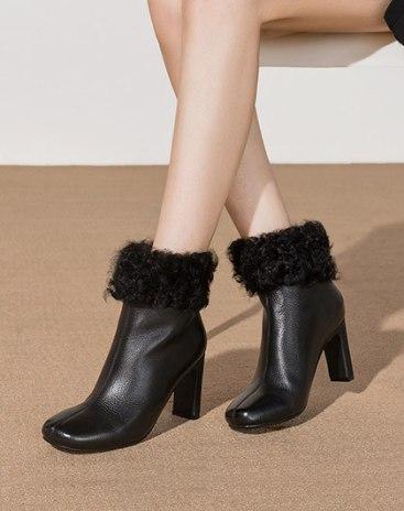 Black Top High Heel Warm Women's Boots