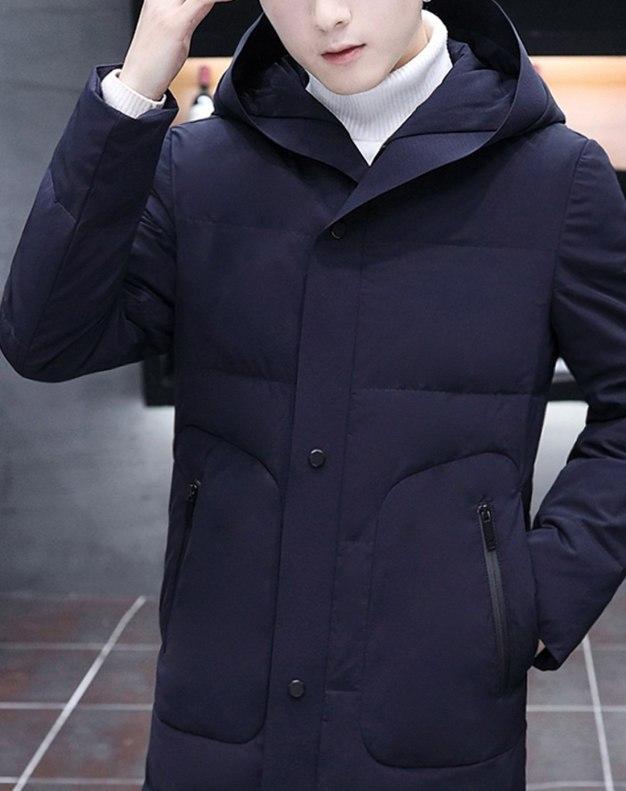 Indigo Hidden Hood Long Sleeve Standard Men's Down Coat
