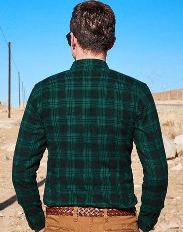 Green Square Neck Standard Men's Shirt