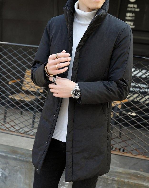Black Stand Collar Long Sleeve Men's Down Coat