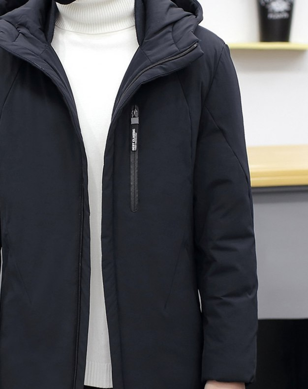 Indigo Hidden Hood Long Sleeve Men's Down Coat