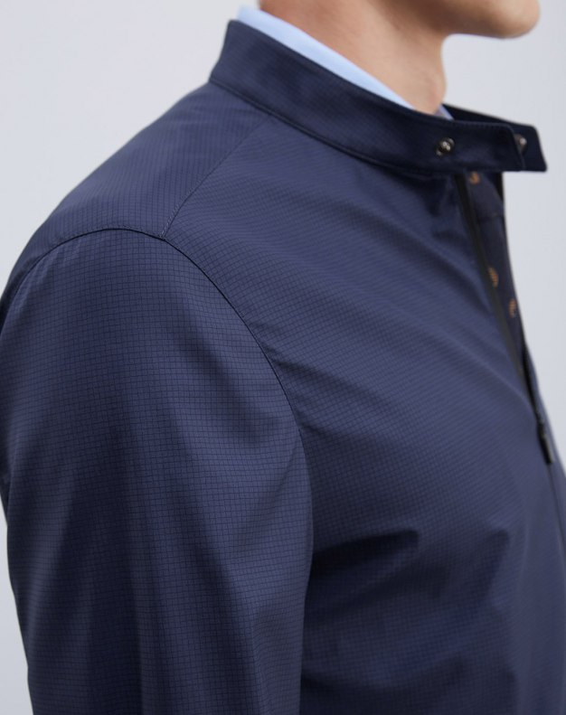 Blue Stand Collar Men's Jacket