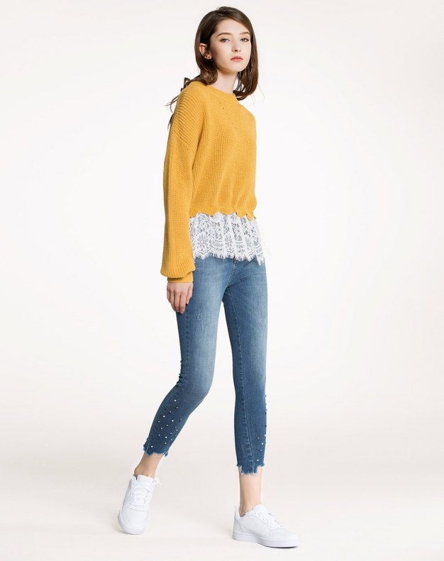 Yellow Plain Round Neck Elastic Long Sleeve Women's Knitwear