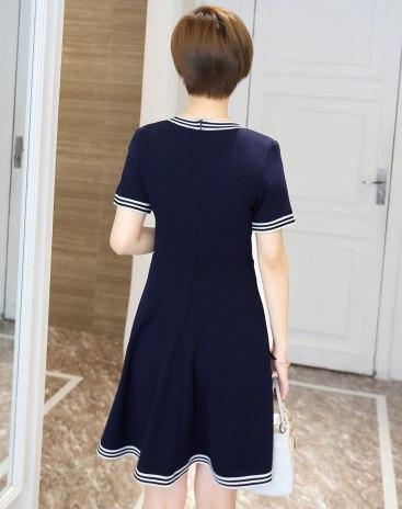Blue V Neck Short Sleeve 3/4 Length Standard Women's Dress