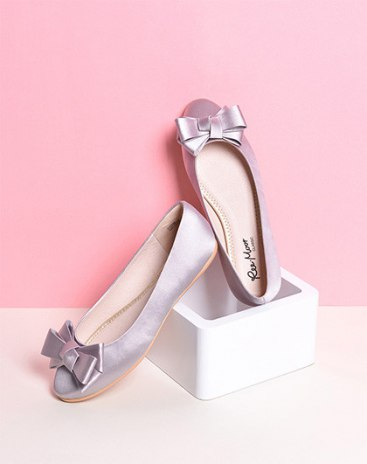 Gray Round Head Flat Women's Shoes