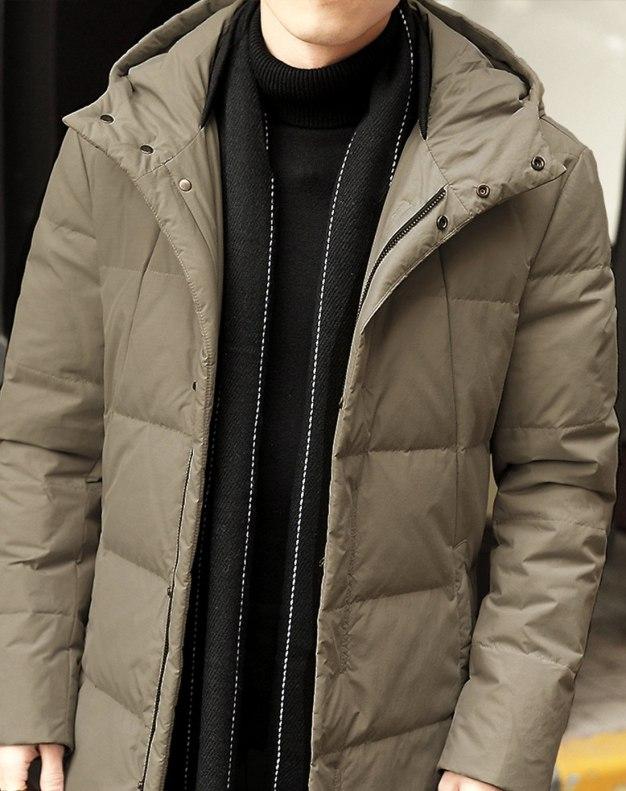Green Hidden Hood Long Sleeve Fitted Men's Down Coat