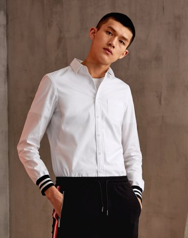White Contrast Color  Lapel Long Sleeve Fitted Men's Shirt